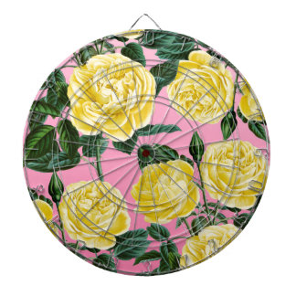 Yellow roses on pink dartboards