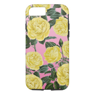 Yellow roses on pink iPhone 7 case