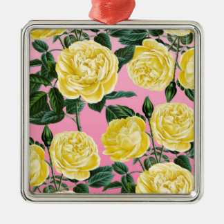 Yellow roses on pink Silver-Colored square ornament