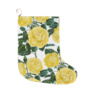 Yellow Roses On White Large Christmas Stocking