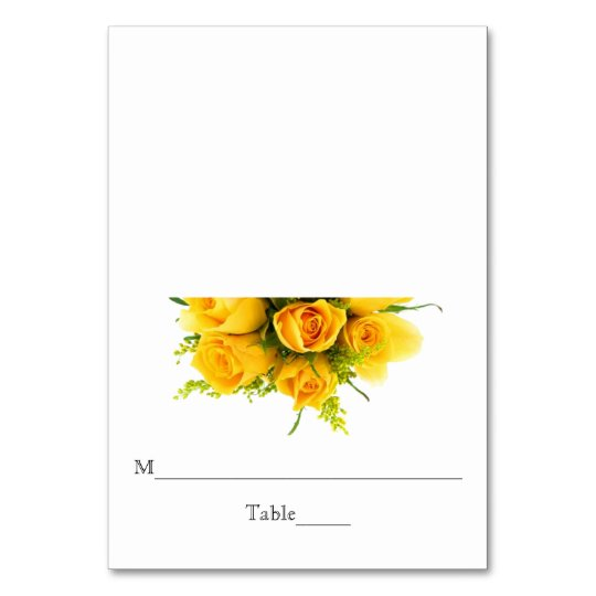 Yellow Roses on White - Reception Escort Card