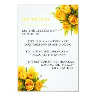 Yellow Roses on White - Reception Invitation