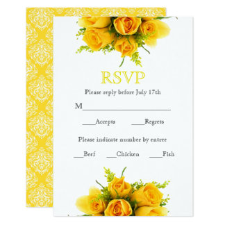Yellow Roses on White - RSVP Card