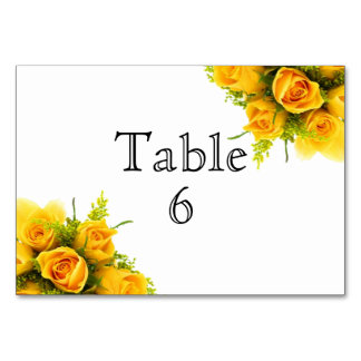 Yellow Roses on White - Table Card