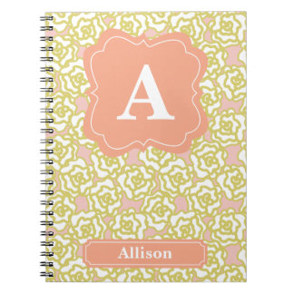 Yellow Roses Orange Monogram Spiral Notebook