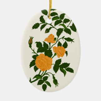 Yellow Roses, Personalized Back Ceramic Ornament
