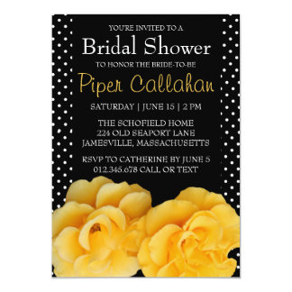 Yellow Roses Polka Dot Bridal Shower Invitations