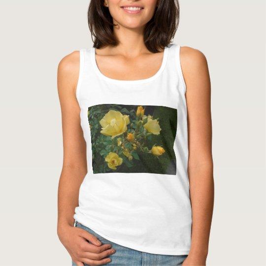yellow roses rustic floral boho women tank top