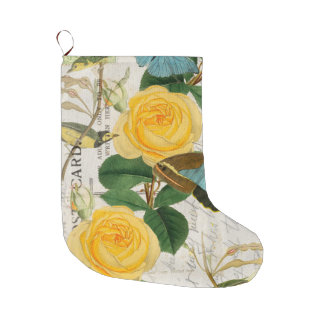 Yellow Roses Shabby Chic Large Christmas Stocking