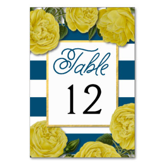 Yellow Roses Table Number Cards Table Cards