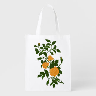 Yellow Roses Vintage Rambling Rose Image Reusable Grocery Bag