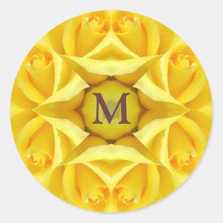 Yellow Roses Wedding Monogram Classic Round Sticker