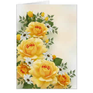 Yellow Roses with White Daisies Card
