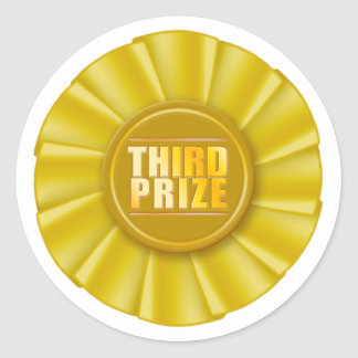 yellow rosette third prize sticker