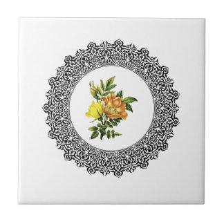 yellow round flowers ceramic tile
