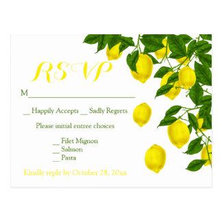 Yellow RSVP Watercolor Lemons Green Wedding Postcard