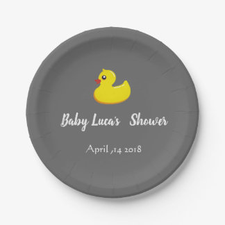 yellow rubber duck  - baby shower paper plate