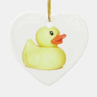 Yellow Rubber Duck Ceramic Heart Ornament