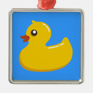 yellow rubber duck in blue metal ornament
