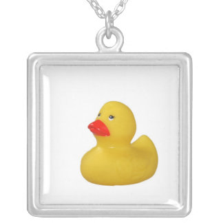 Yellow rubber duck toy fun necklace, gift square pendant necklace