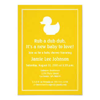 """Yellow Rubber Duckie Baby Shower 5"""" X 7"""" Invitation Card"""
