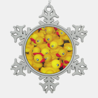 Yellow rubber duckies print christmas ornament