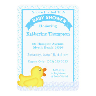 Yellow Rubber Ducky Baby Shower Invitation