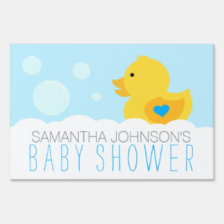 Yellow Rubber Ducky Boys Baby Shower Sign