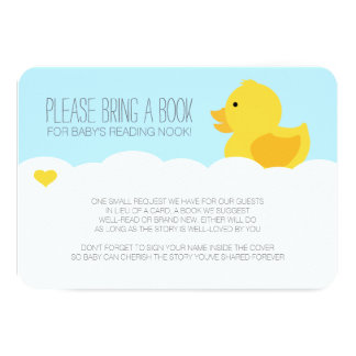 "Yellow Rubber Ducky Bubble Bath Baby Shower 3.5"" X 5"" Invitation Card"