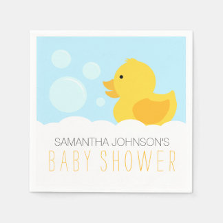 Yellow Rubber Ducky Bubble Bath Baby Shower Paper Napkins