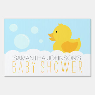 Yellow Rubber Ducky Bubble Bath Baby Shower Sign