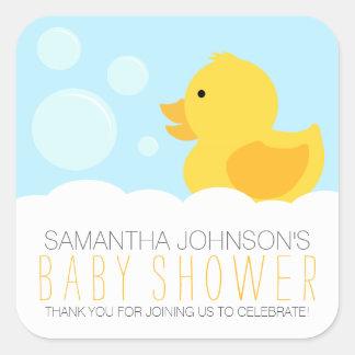 Yellow Rubber Ducky Bubble Bath Baby Shower Square Sticker