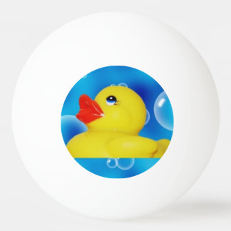 Yellow Rubber Ducky in Bubbles Ping Pong Ball