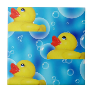 Yellow Rubber Ducky in Bubbles Tile