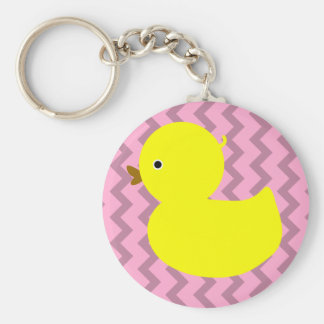 Yellow Rubber Ducky on Pink Basic Round Button Keychain