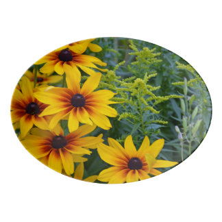 Yellow rudbeckia flowers porcelain serving platter