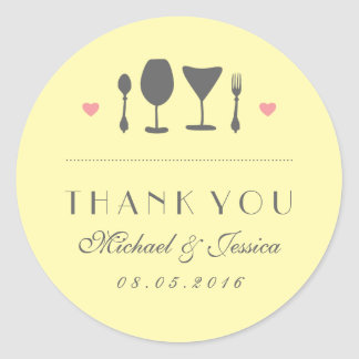 Yellow Rustic Fork Spoon Wedding Thank You Sticker