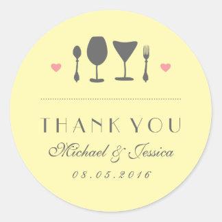 Yellow Rustic Fork Spoon Wedding Thank You Sticker