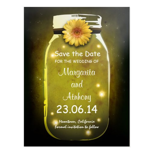 Yellow Rustic Whimsical Mason Jar Save the Date Post Cards