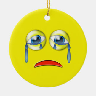 Yellow Sad  Emoji Custom Name Ceramic Ornament