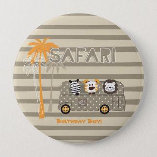Yellow Safari Bus Jungle Personalized Birthday Boy 4 Inch Round Button