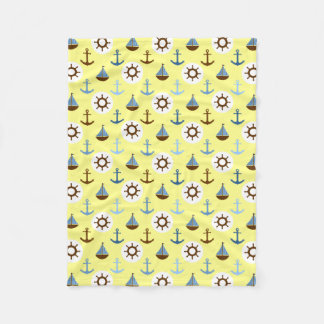 Yellow Sailboat Pattern Fleece Blanket