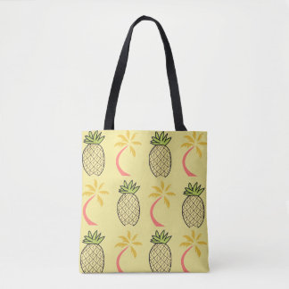 Yellow  Sand Tropical Beach Pineapple Palm Tote