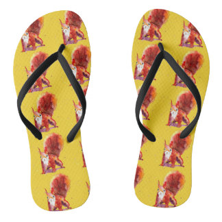 yellow sandalen with handpainted squirrels flip flops