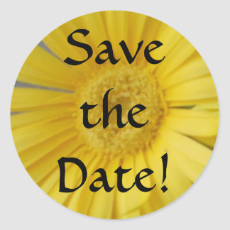 Yellow Save the Date Classic Round Sticker