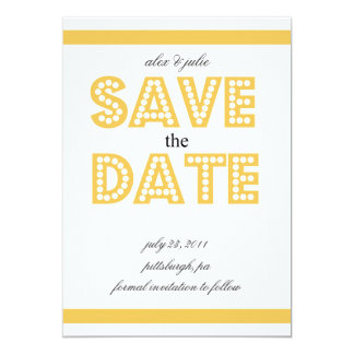 """yellow save the date 5"""" x 7"""" invitation card"""