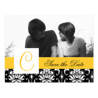 Yellow Save the Date Postcard Black Damask Photo