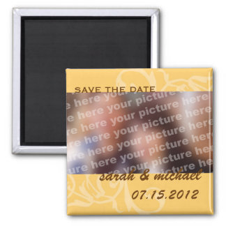 Yellow save the date wedding announcement photo square magnet