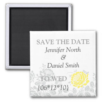 Yellow Save The Dates Square Magnet
