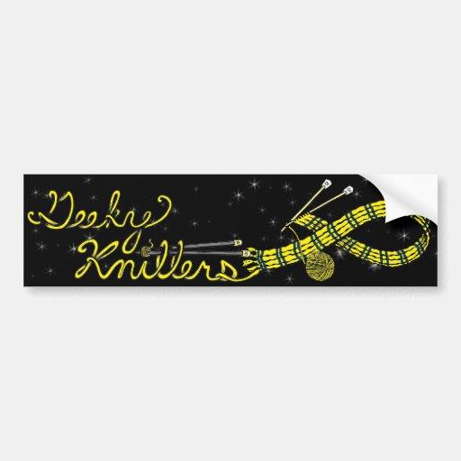 Yellow Scarf Geeky Knitters Bumper Sticker